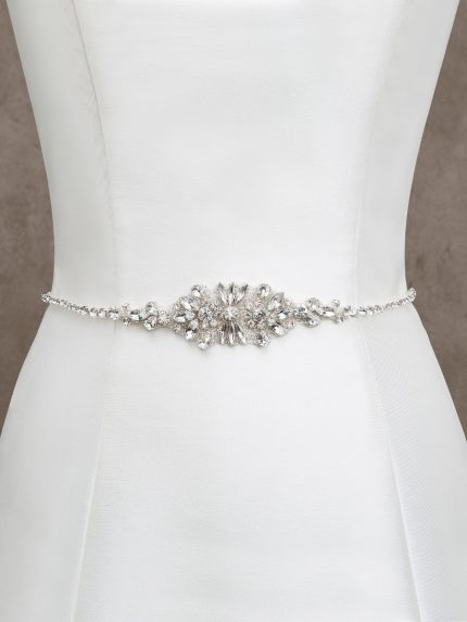 Rhinestone Embellished Thin Bridal Belt