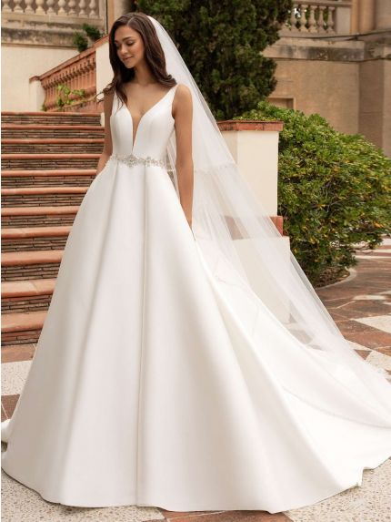 V-Neck Princess Wedding Dress in Mikado