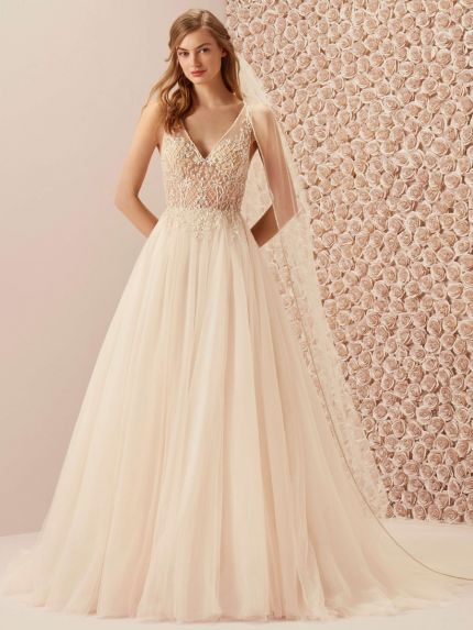 V-Neck Flared Skirt in Tulle and Beaded Bodice
