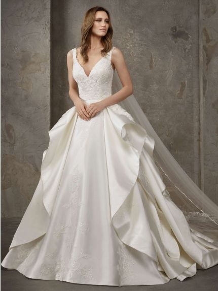 V-Neck Princess Wedding Dress in Satin