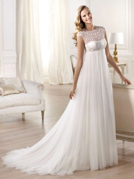 Empire Waist Tulle Wedding Dress with Embroidery