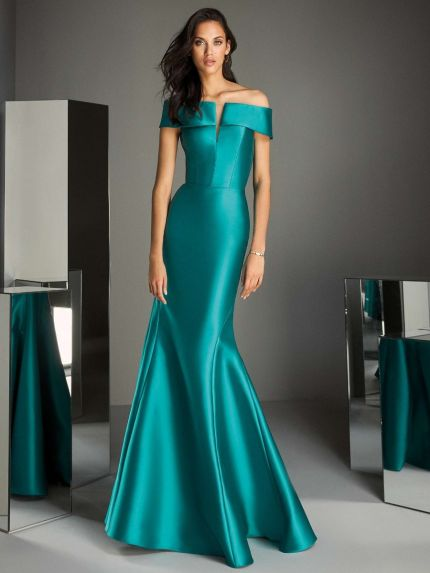 Classy Mikado Off-Shoulder Mermaid Evening Gown