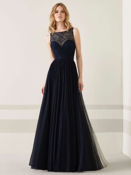 Boat Neckline A-Line Evening Gown in Chiffon