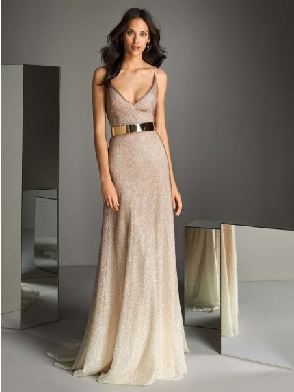 Glitter A-Line Evening Gown with Straps