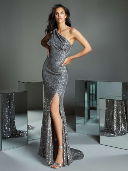 One-Shoulder Sequin Evening Gown