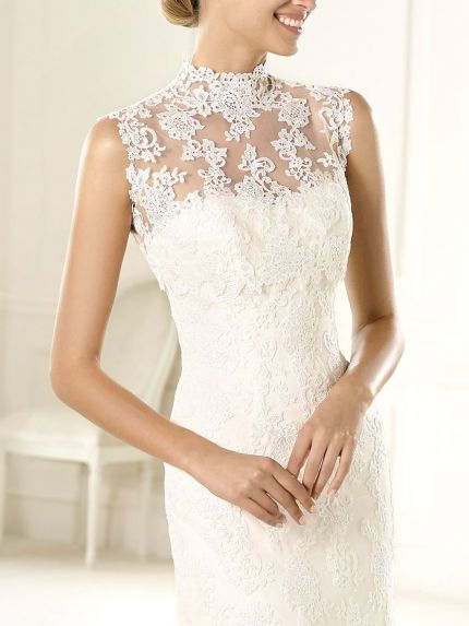High Neck Sleeveless Lace Bridal Jacket