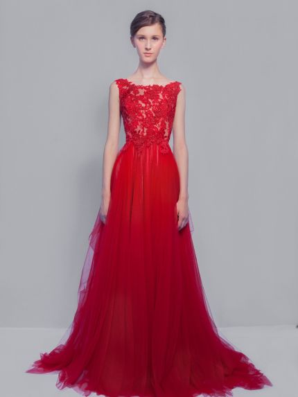 Dramatic Red Lace Evening Dress in Tulle