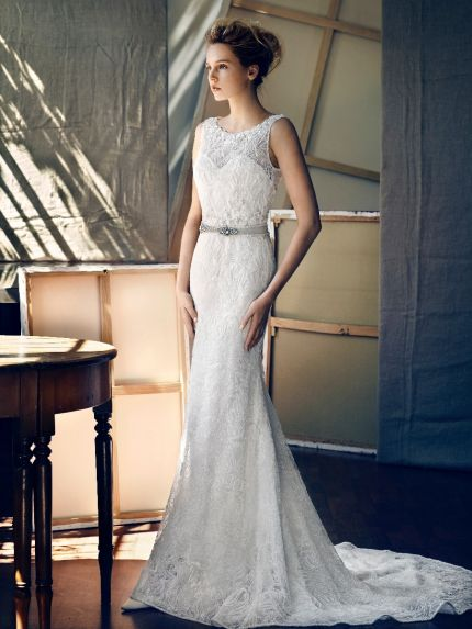 Illusion Boat Neckline Mermaid Wedding Dress with Beads