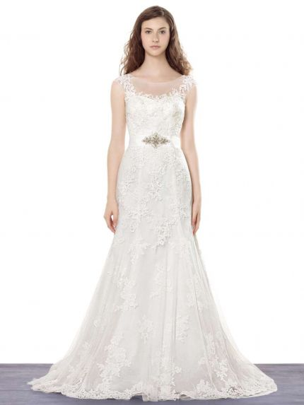 Illusion Bateau Mermaid Wedding Dress in Lace