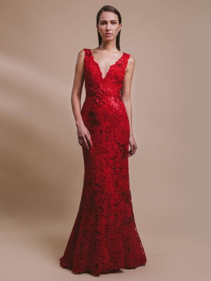 V-Neckline Mermaid Evening Dress