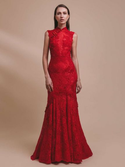 Mandarin Collar Mermaid Evening Dress with Lace