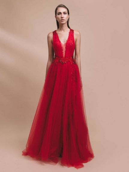 V-Neckline A-Line Evening Dress