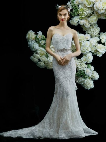 Sleeveless Neckline Mermaid Wedding Dress with Bead Work