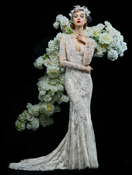 V-Neckline Mermaid Wedding Dress in Lace