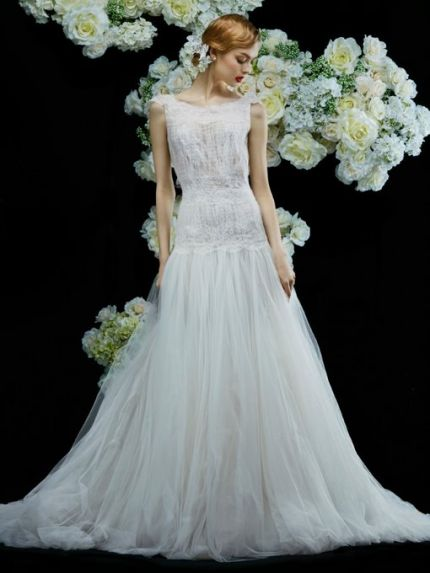 Sheer Bateau Neckline A-Line Wedding Dress