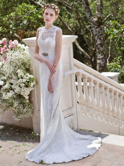 Sheer Boat Neckline Mermaid Wedding Dress in Lace