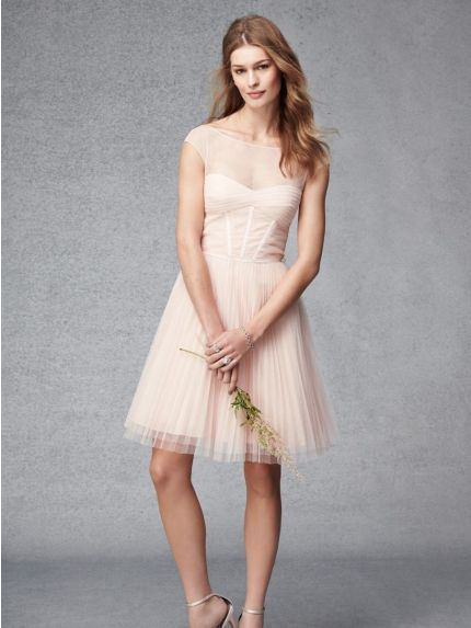 Illusion Neckline Short Bridesmaid Dress