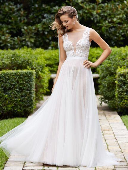 Illusion Neckline A-Line Wedding Dress in Tulle