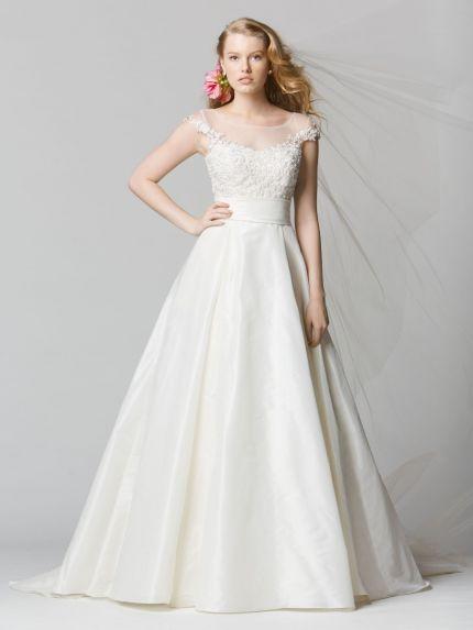Illusion Neckline A-Line Wedding Dress in Taffeta