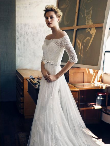 Off-the-Shoulder Neckline A-line Wedding Dress with Lace